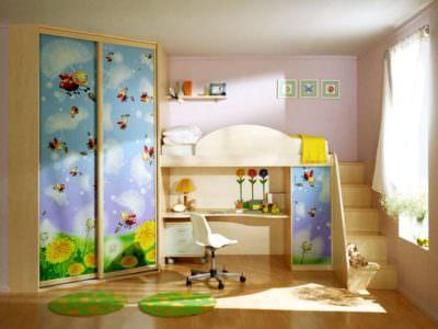 Шкаф-Купе в Детскую с Фотопечатью  и кроватью